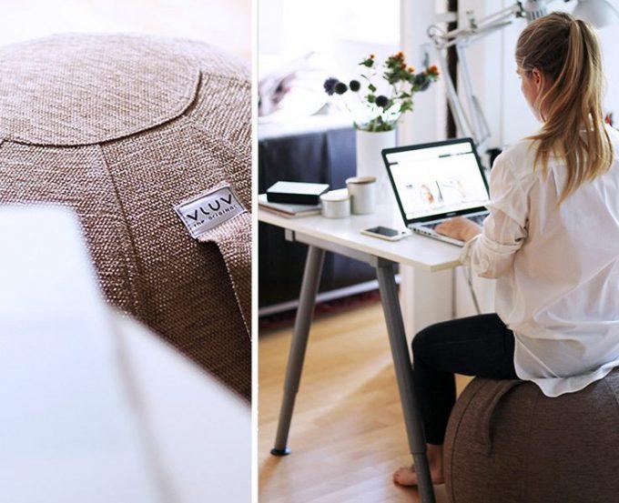 Vluv Hock Design ballon siège yoga tissu poignée - blog déco - Clem Around The Corner