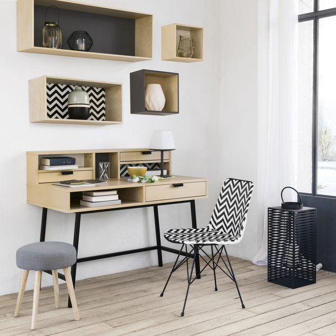 aménager 20m2 bureau à tiroir ambiance ethnique gris blanc noir clemaroundthecorner blog déco