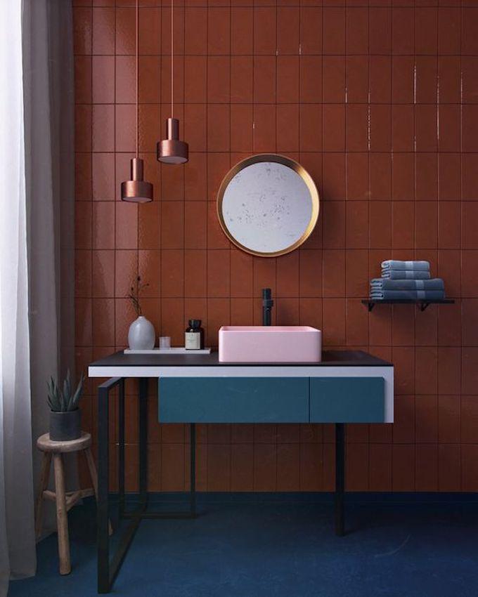 couleur terracotta salle de bain association bleu cuivre carreaux carrelage blog déco clem around the corner