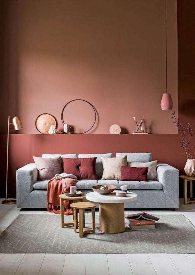 couleur terracotta salon mur blush rose coussin canapé blog déco clem around the corner