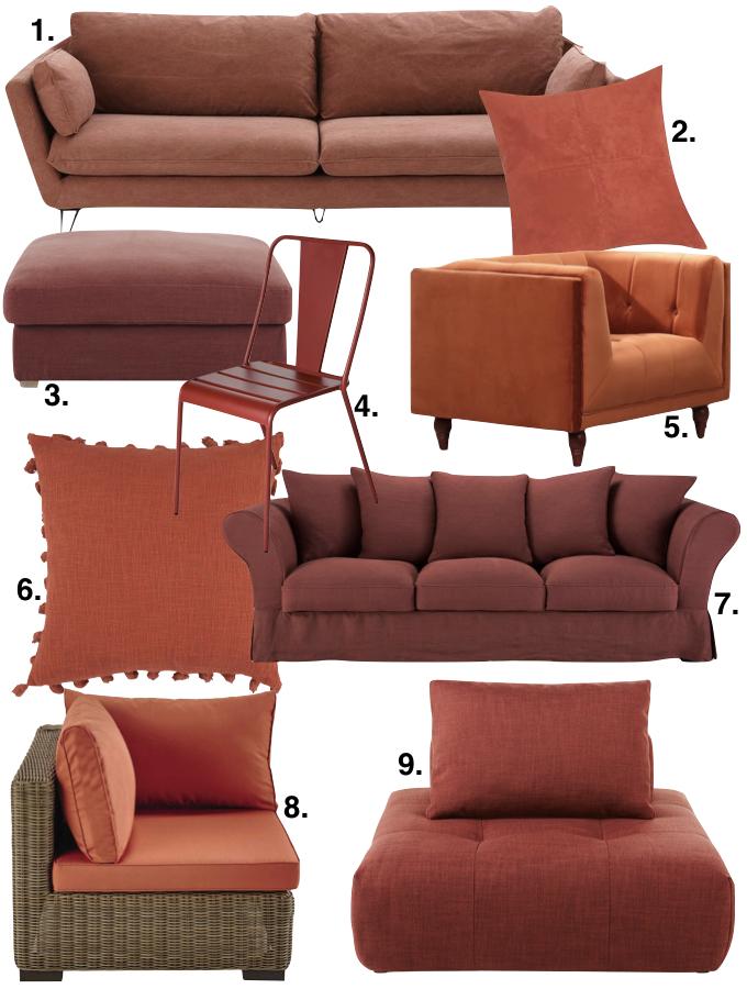 couleur terracotta salon séjour canapé coussin fauteuil blog déco clem around the corner