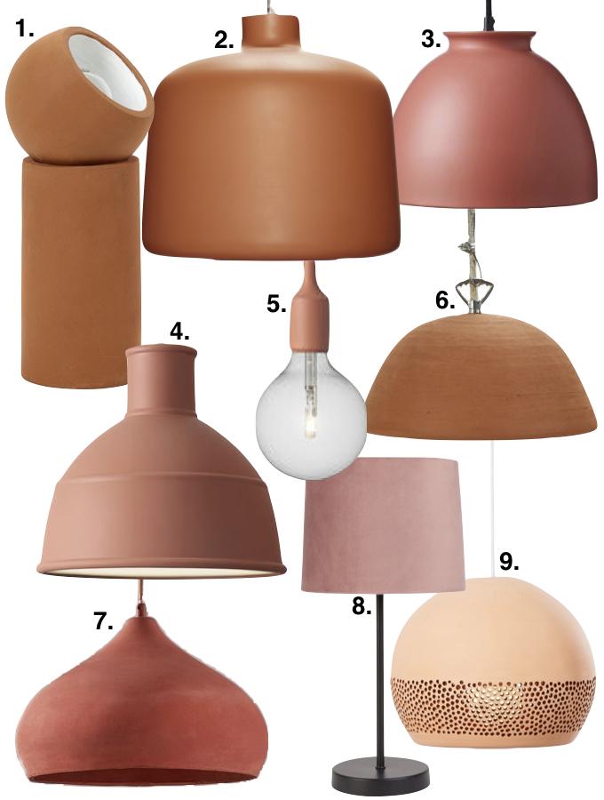 couleur terracotta teinte de terre luminaire lampe suspension décoration couloir blog déco clem around the corner