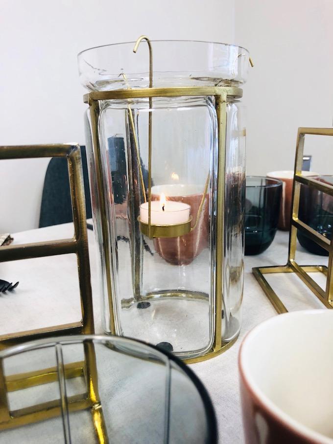 décoration table d'automne lanterne photophore or laiton verre design - blog déco - Clem Around The Corner