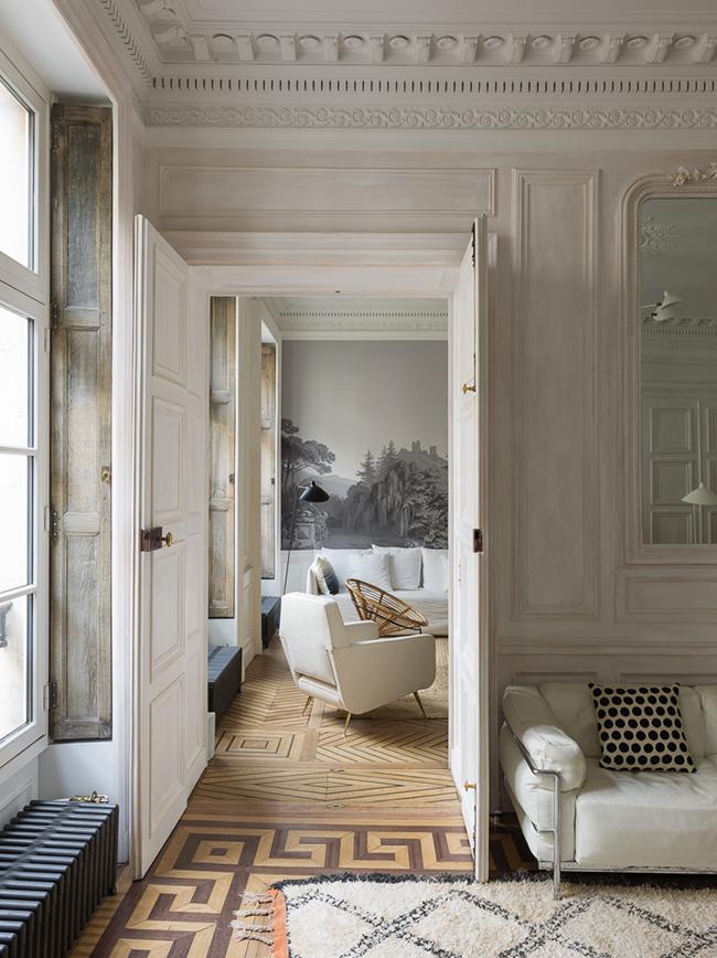 parquet motif grec pied-à-terre parisien - blog déco - Clem Around The Corner