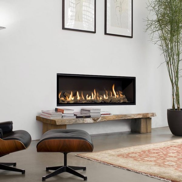 cheminée gaz salon hygge lounge chair eames noir bambou moderne blog déco - clem around the corner