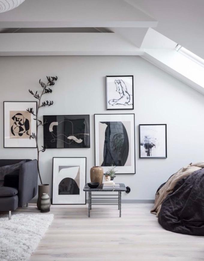 appartement design suédois tableaux salon lit chambre blog déco clem around the corner