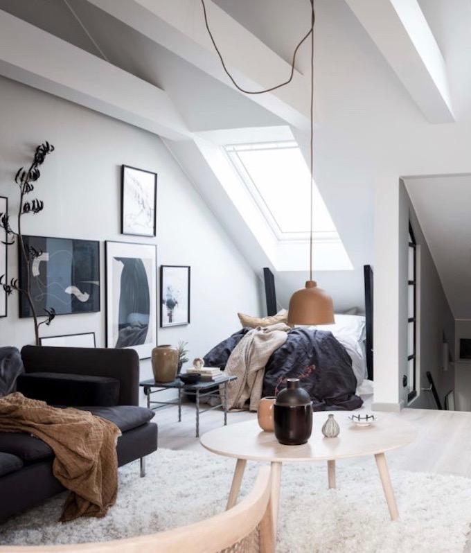 appartement design suédois hygge salon velux chambre lit blog déco clem around the corner