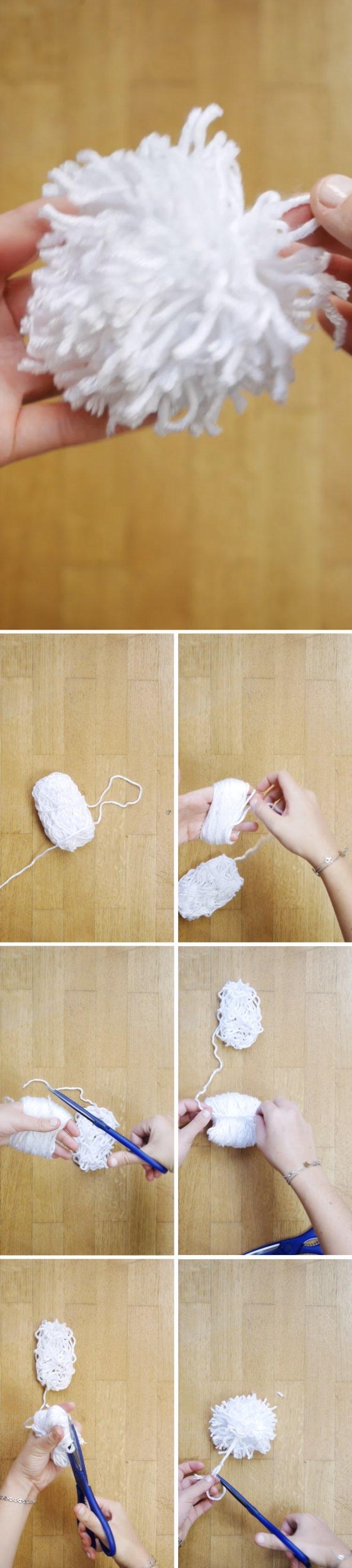boules de noël diy création pompon blanc laine blog déco clem around the corner