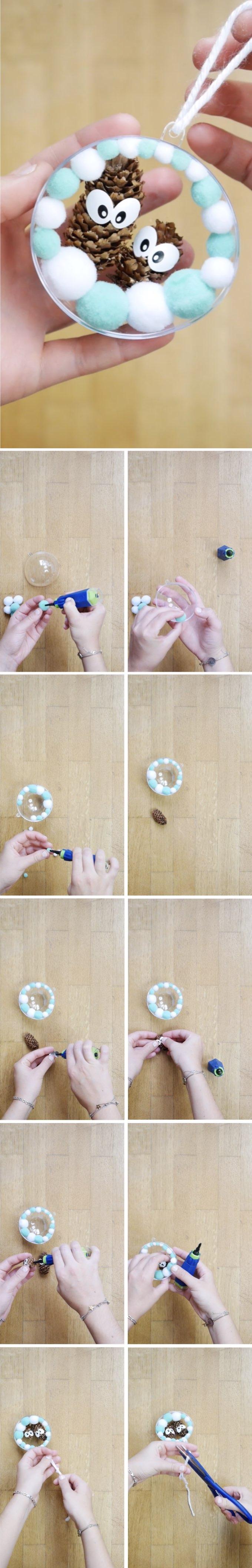 boules de noël diy création famille pomme de pin blog déco clem around the corner