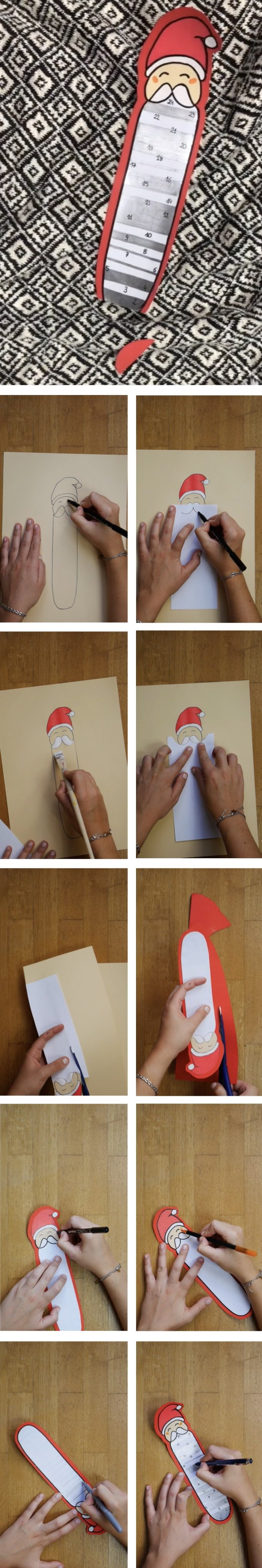 calendrier avent diy barbe du père noël à découper papier diy blog déco clem around the corner