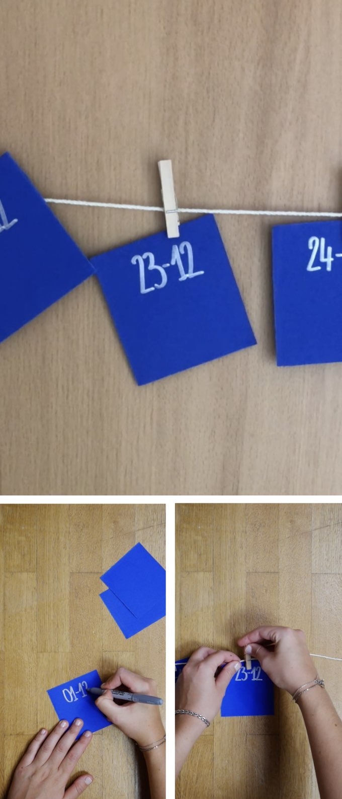 calendrier avent diy papier bleu calligraphie argent accrocher blog déco clem around the corner