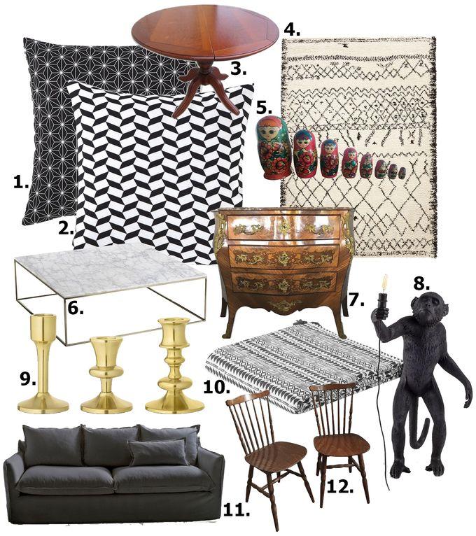 déco en noir et blanc shopping liste blog déco clem around the corner