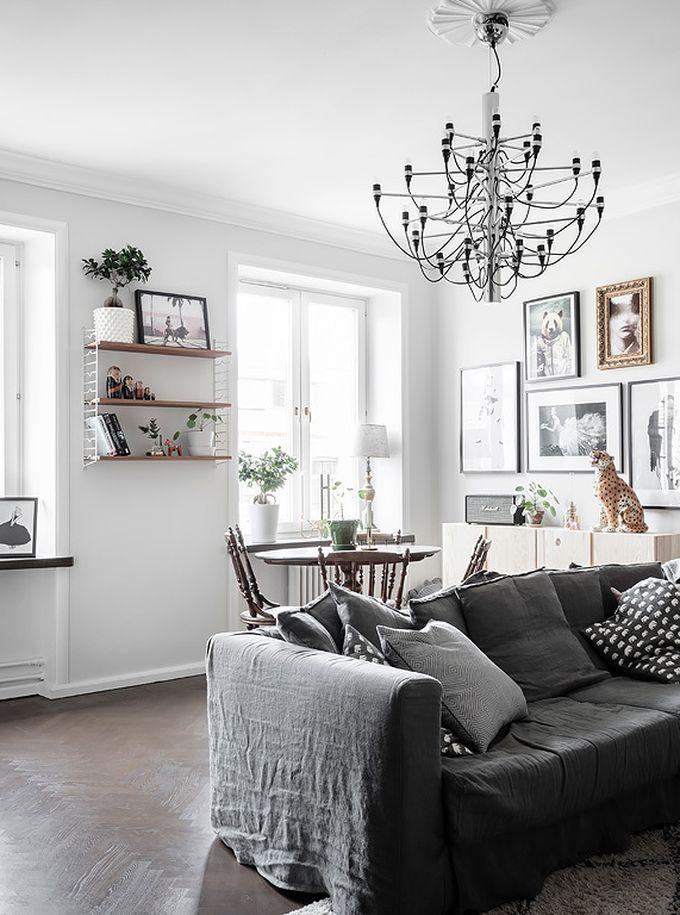 déco en noir et blanc tapis parquet canapé gris salle à manger hygge blog déco clem around the corner