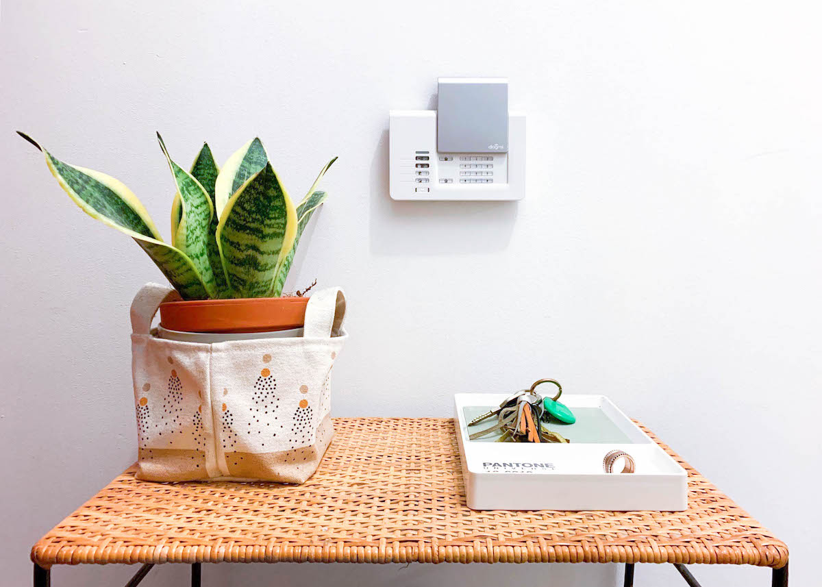 diagral e one alarme connectée sécurité entrée plante mur blanc blog déco clem around the corner