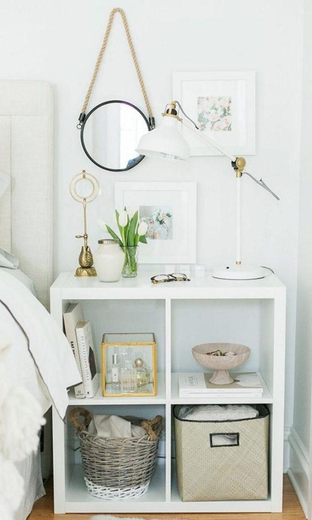 optimiser le rangement table de nuit chevet bois blanc blog déco clem around the corner