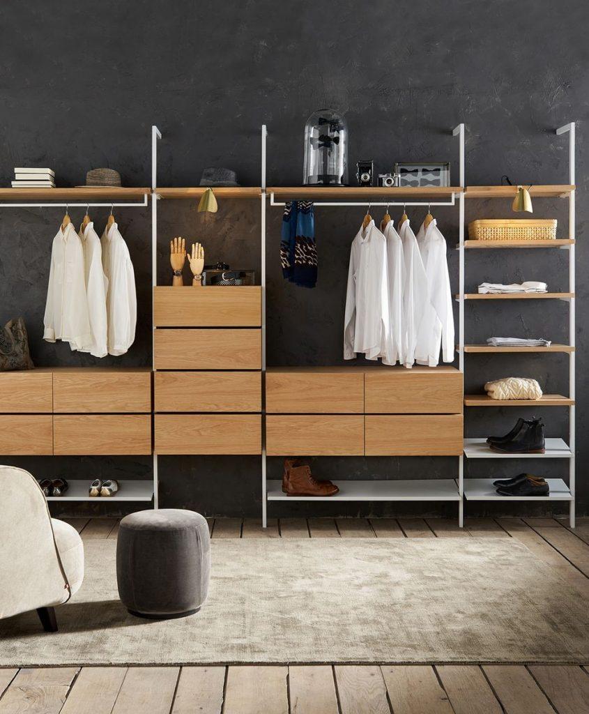 gagner des espaces de rangement dans la chambre dressing étroit penderie ouverte - blog déco - clem around the corner