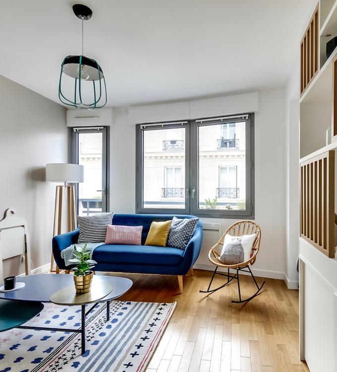 studio transformé en 2 pièces décoration scandinave salon pas cher - blog déco - clem around the corner