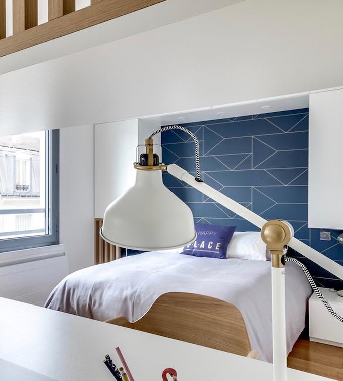 studio transformé en 2 pièces chambre scandinave papier peint géométrique - blog déco - clem around the corner