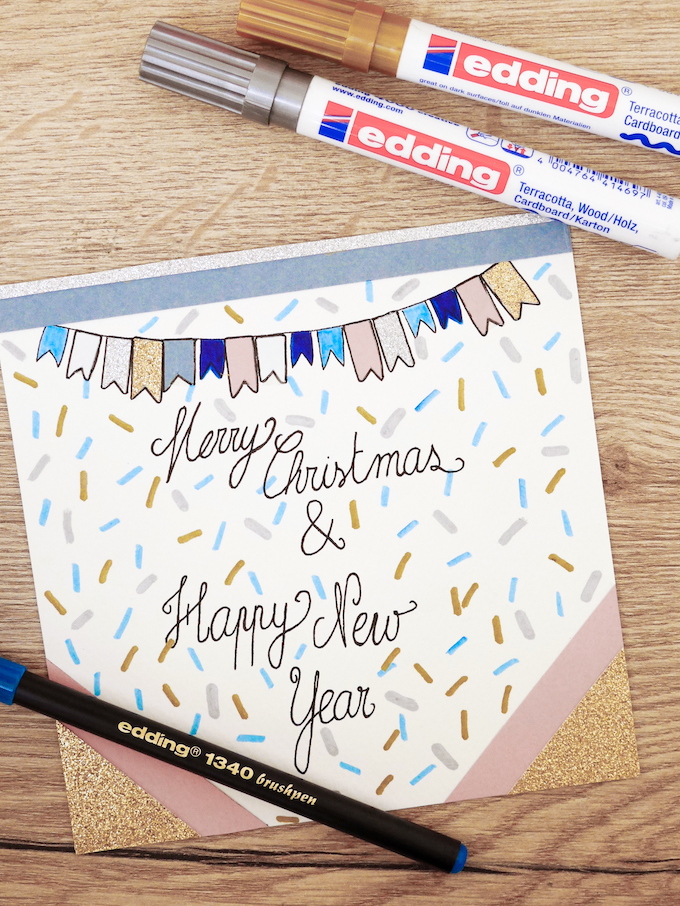 carte de voeux fin d'année festive feutres fanions blog déco clem around the corner