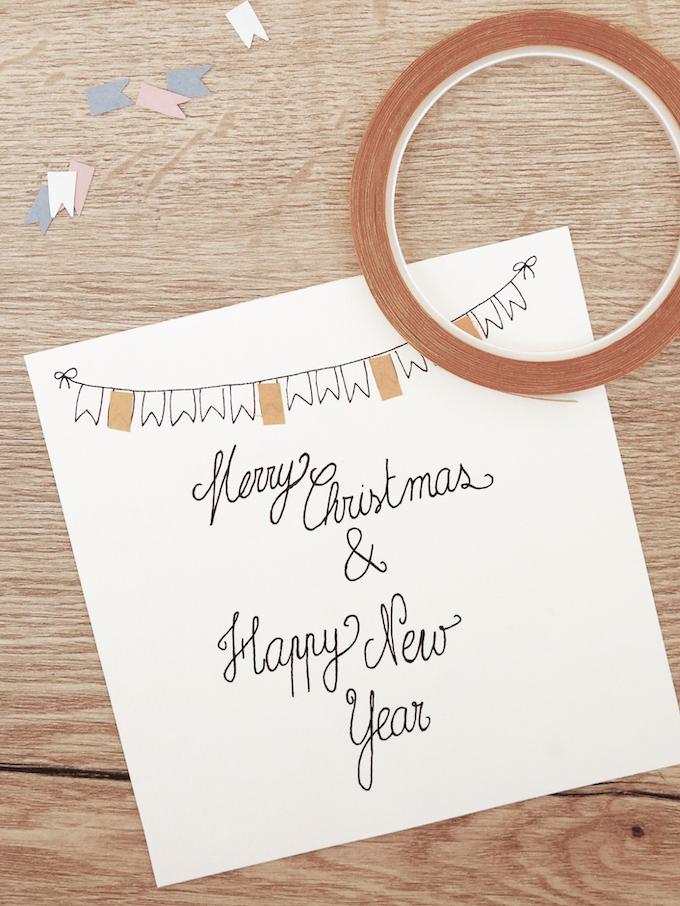 carte de voeux fin d'année festive scotch paillettes feutres fanions blog déco clem around the corner