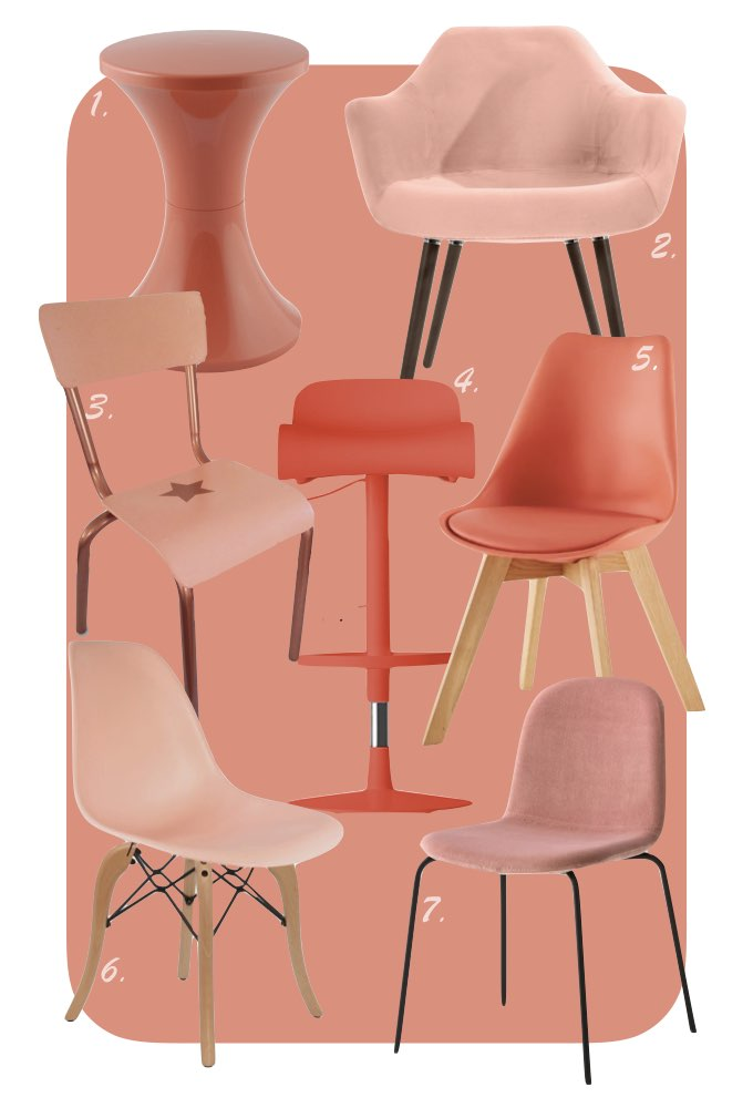 couleur de l'année pantone 2019 corail living coral chaise rose blush rouge orange blog déco clem around the corner