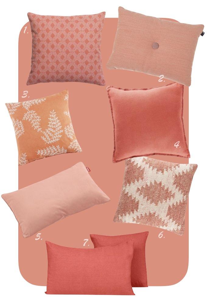 couleur de l'année pantone 2019 coussins assortiment idée décorative chambre blog déco clem around the corner