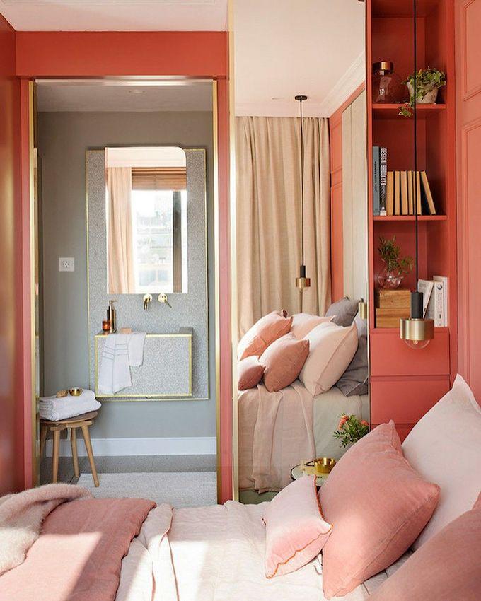 couleur de l'année pantone 2019 living coral chambre blush rose corail lit salle de bain gris blog déco clem around the corner