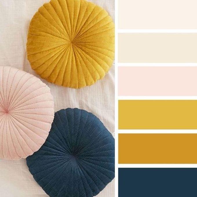 nuancier assortiment couleur contraste coussin salon en décoration intérieure