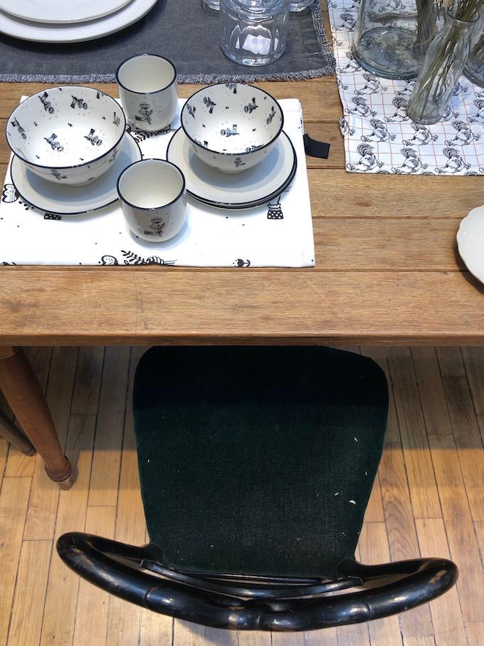 monoprix déco 2019 printemps été table vintage noir et blanc champêtre blog déco clem around the corner
