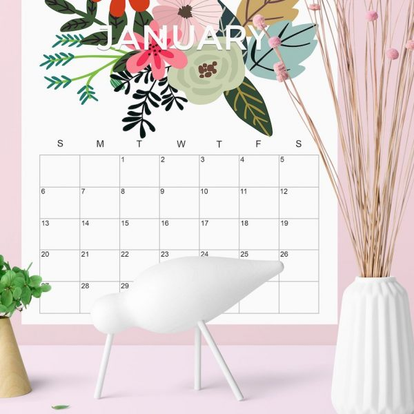 calendrier 2019 original floral design fleurs couleurs blog déco clem around the corner
