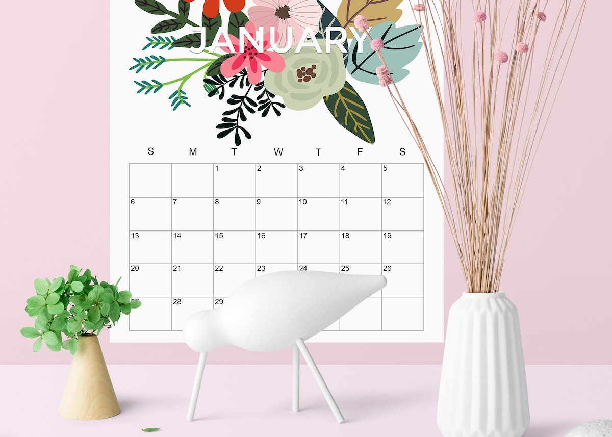 calendrier 2019 original floral design fleurs couleurs blog déco clem around the corner