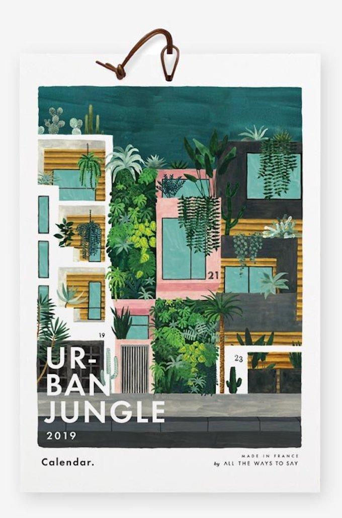 calendrier 2019 original urban jungle plante architecture blog déco clem around the corner