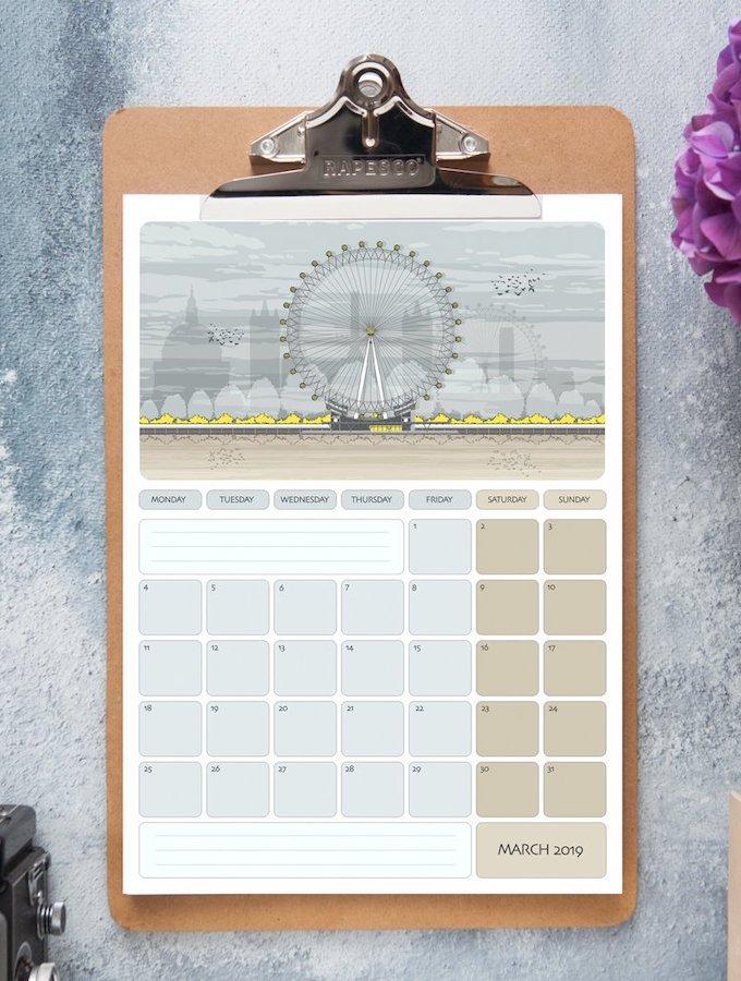 calendrier 2019 original londres architecture ville blog déco clem around the corner