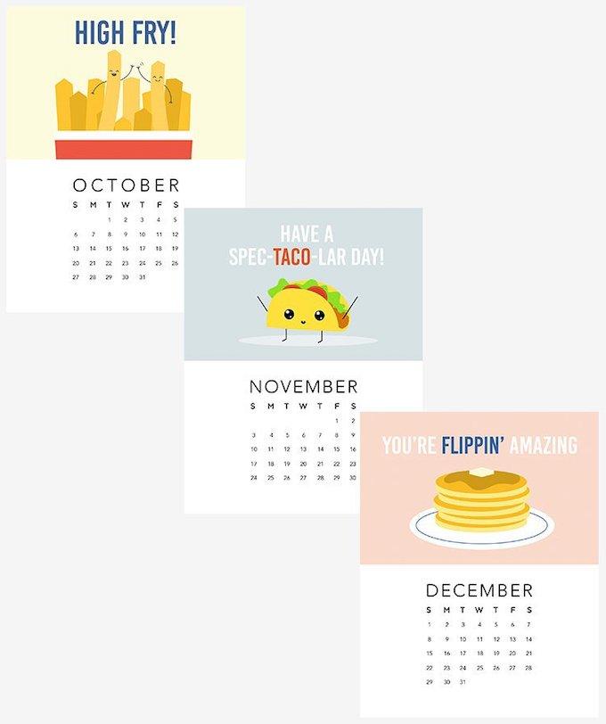 calendrier 2019 original drôle food cuisine blog déco clem around the corner
