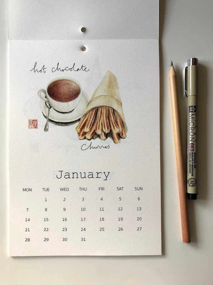 calendrier 2019 original chocolat chaud churros janvier blog déco clem around the corner