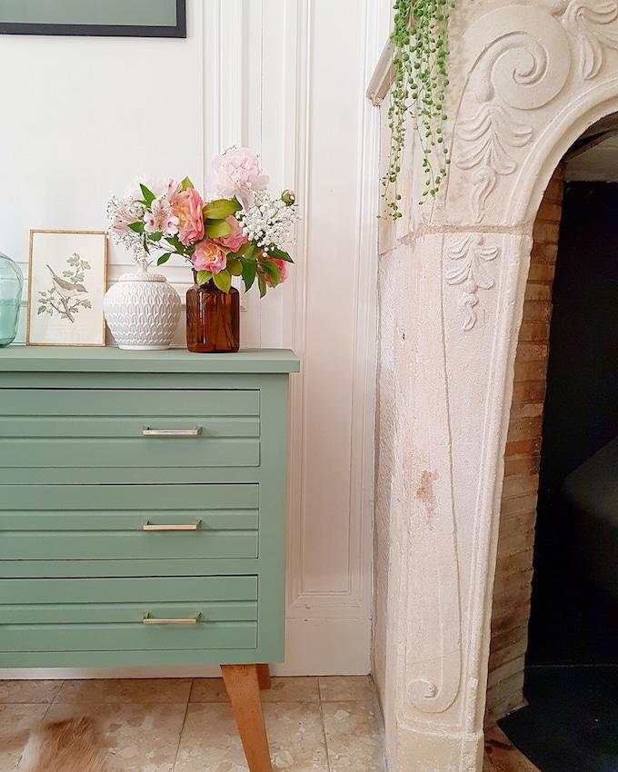 Peinture écologique avis Pure & Paint meuble repeint upcycling décoration vert de gris - blog deco - clem around the corner