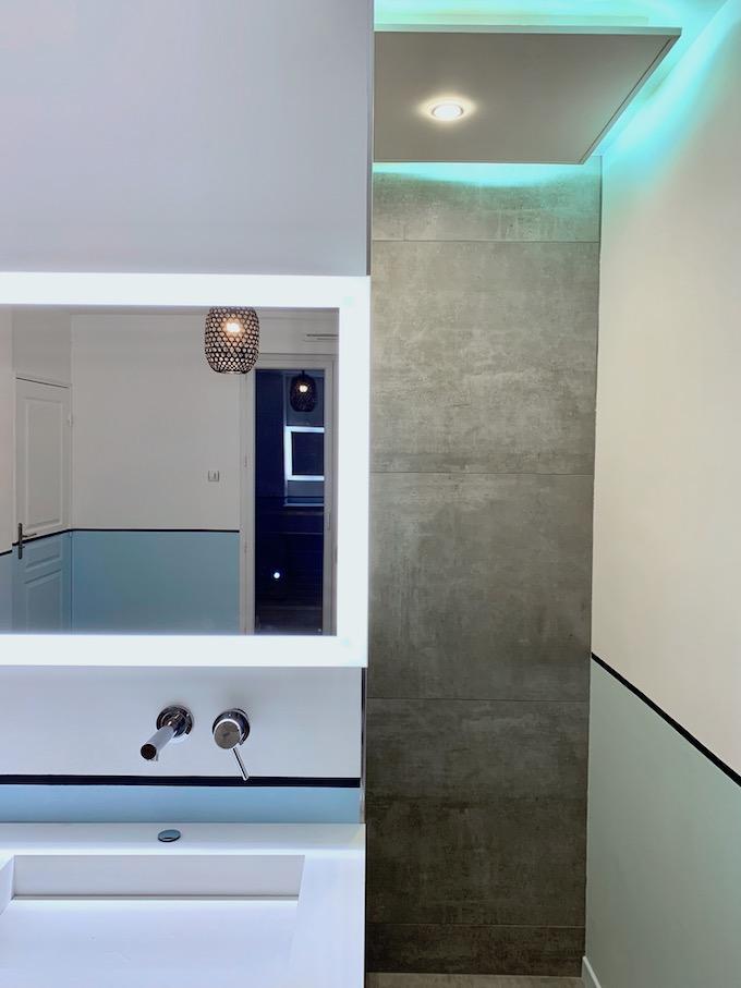 avant après salle de bain ouverte chambre rénovation - blog déco - clem around the corner