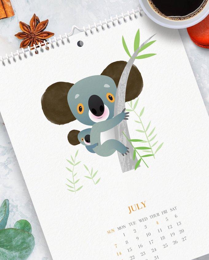 calendrier 2019 original animaux enfant illustration design blog déco clem around the corner