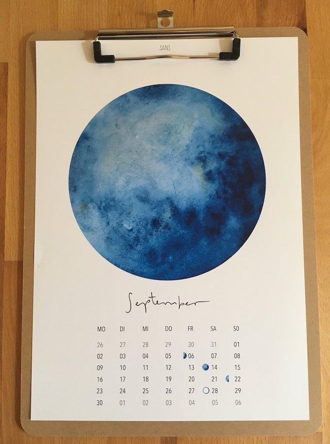 calendrier 2019 original bleu septembre aquarelle blog déco clem around the corner