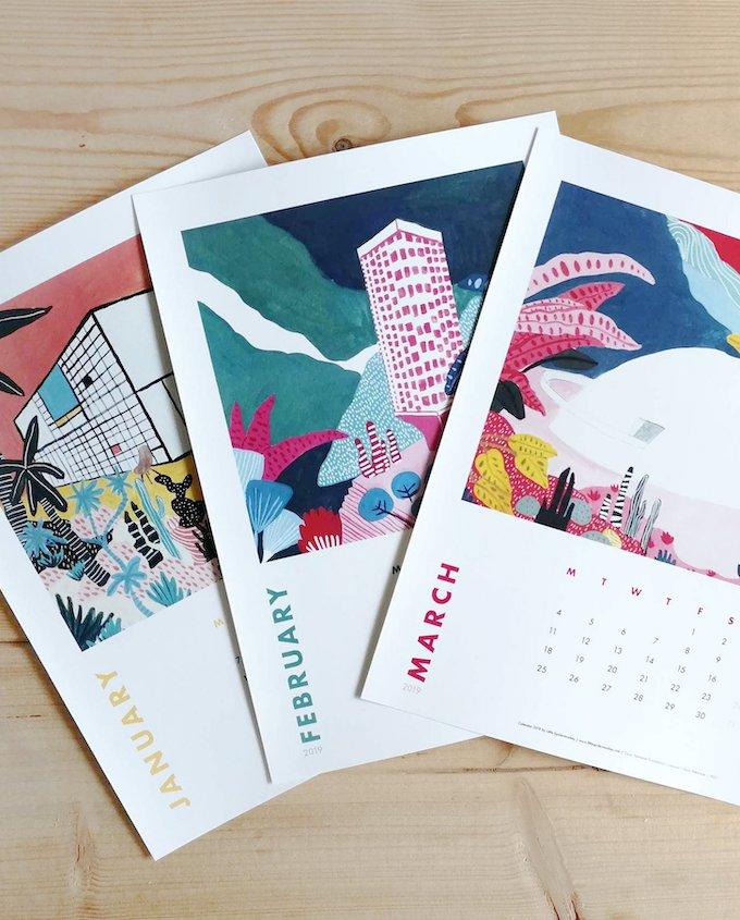calendrier 2019 original couleurs coloré design graphic blog déco clem around the corner