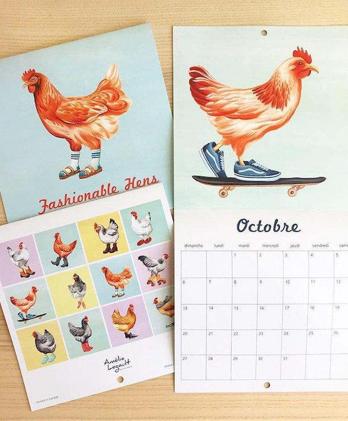 calendrier 2019 original drôle poule blog déco clem around the corner
