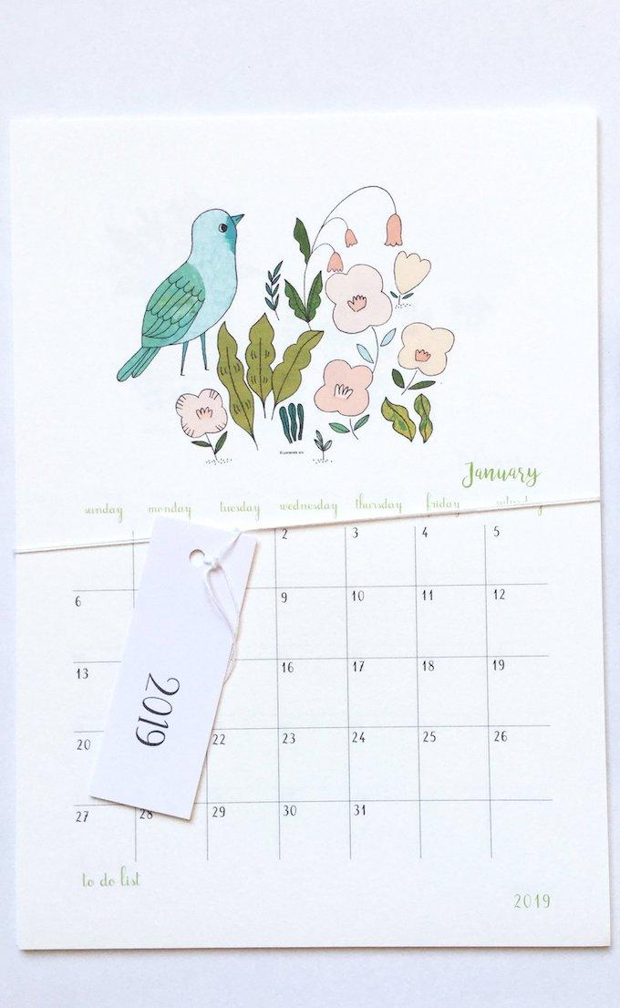 calendrier 2019 original floral illustration janvier 1 blog déco clem around the corner