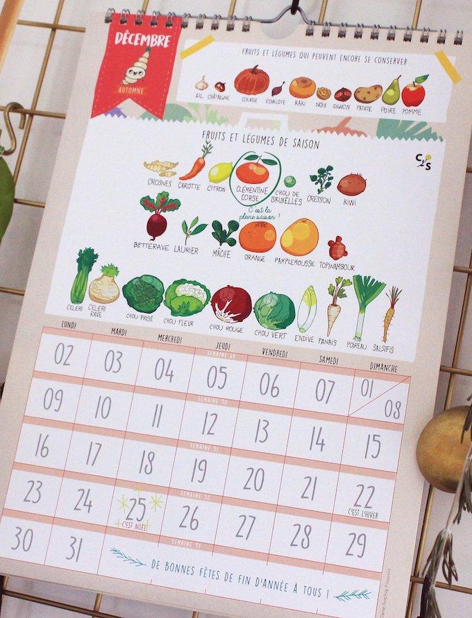 calendrier 2019 original fruits et légumes de saison décembre blog déco clem around the corner