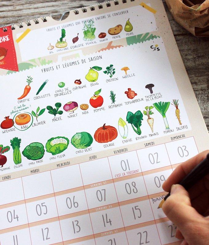 calendrier 2019 original fruits et légumes de saison novembre blog deco clem around the corner