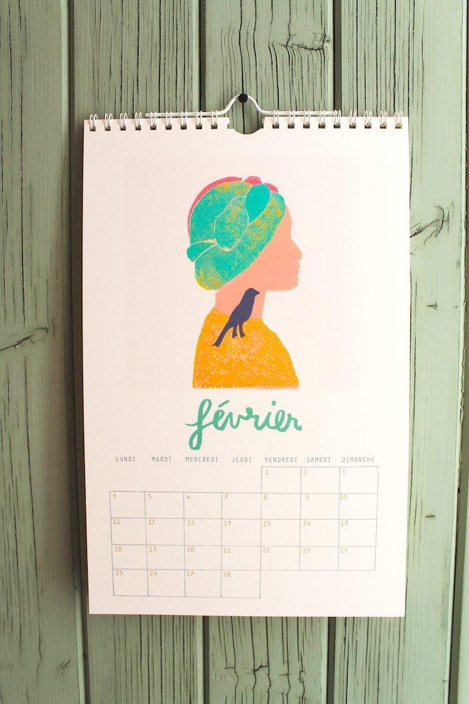 calendrier 2019 original illustration color pop blog déco clem around the corner