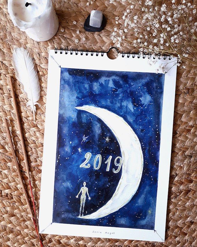calendrier 2019 original lunaire yoga aquarelle blog déco clem around the corner