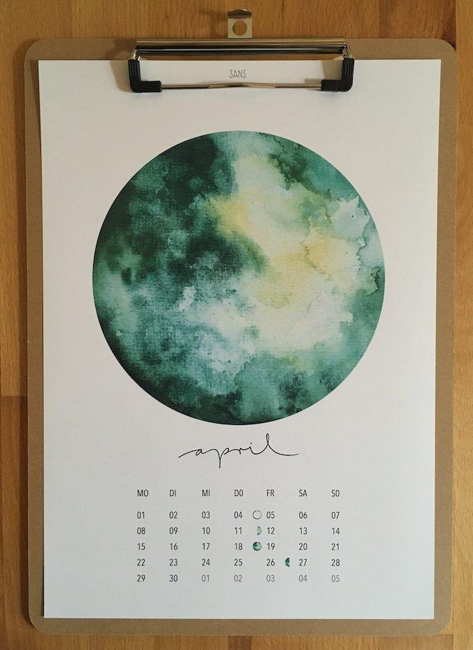 calendrier 2019 original lune lunaire avril blog déco clem around the corner