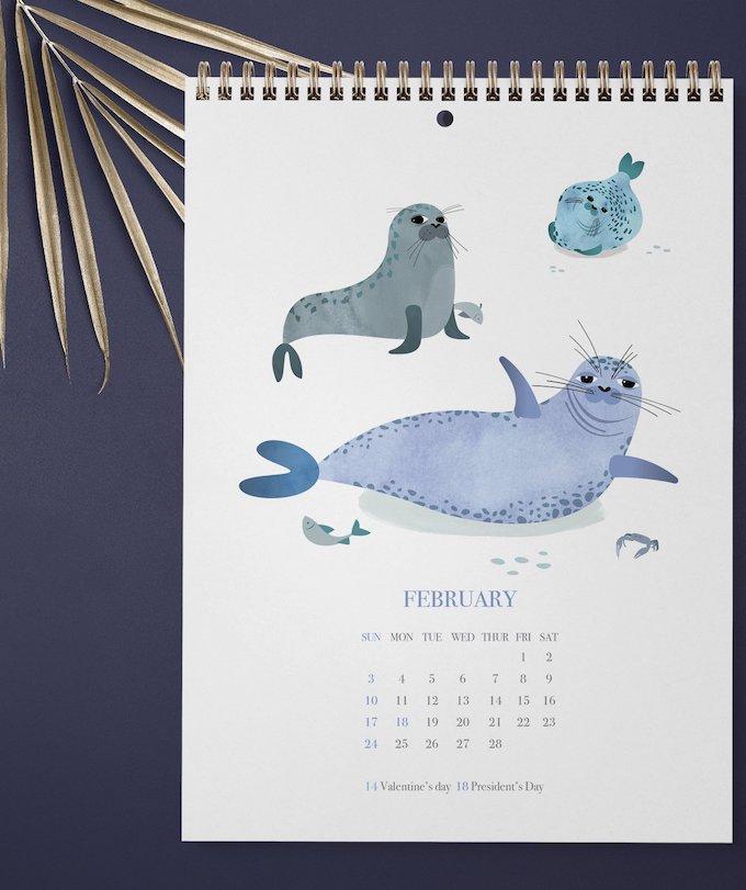 calendrier 2019 original phoque bleu février dessin illustration enfant blog déco clem around the corner