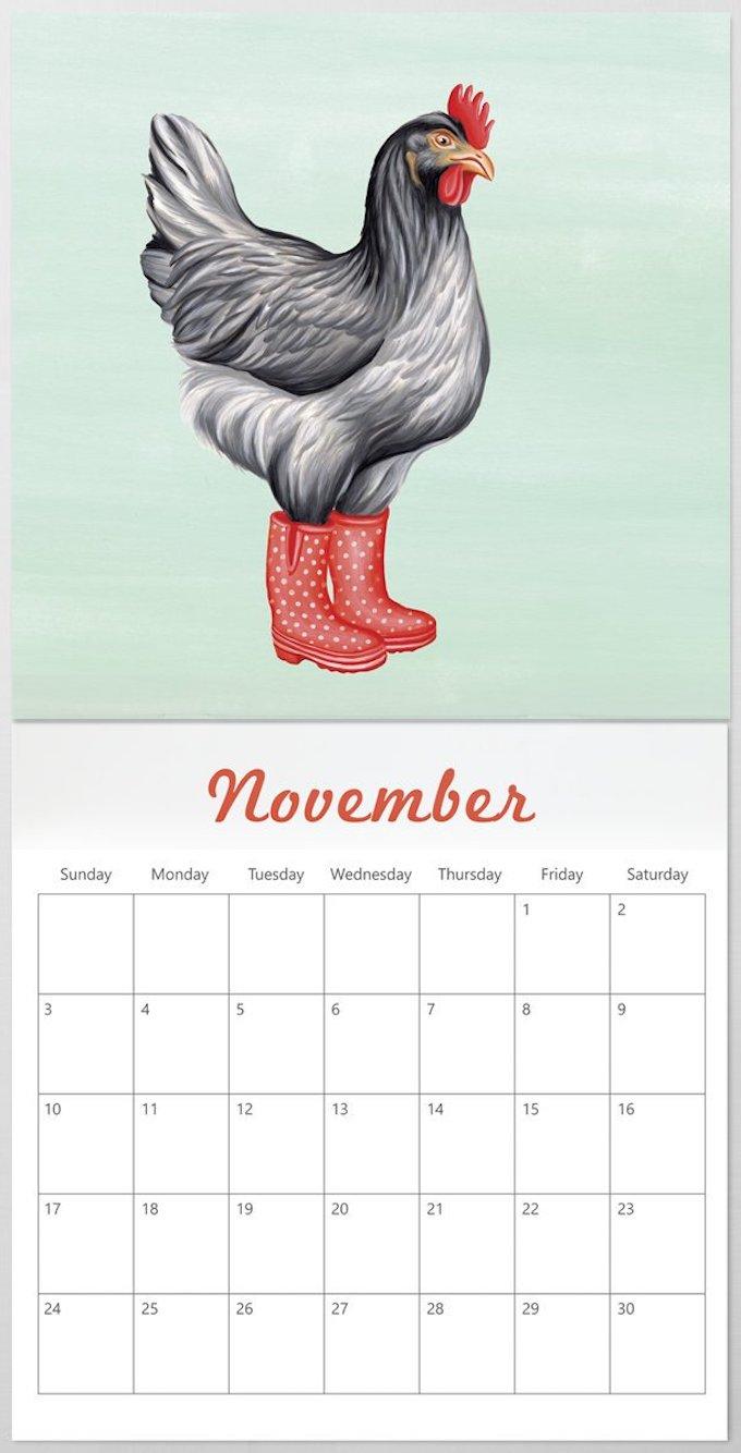 calendrier 2019 original poule botte pluie rouge novembre blog déco clem around the corner