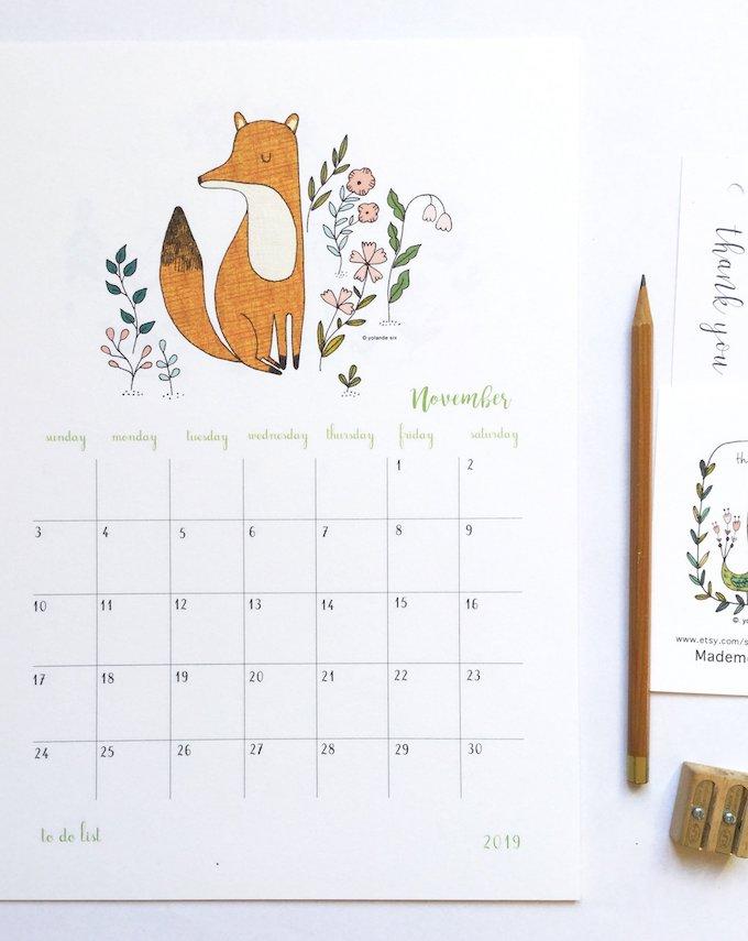 calendrier 2019 original renard illustration novembre 1 blog déco clem around the corner